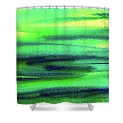 Emerald Flow Abstract Painting Shower Curtain by Irina Sztukowski
