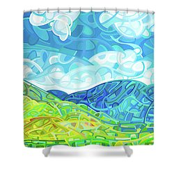 Emerald Moments Shower Curtain by Mandy Budan