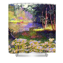Enchanted By Daisies, Modern Impressionism, Wildflowers, Silver Birch, Aspen Shower Curtain by Jane Small