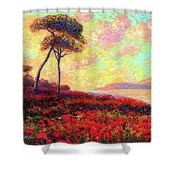 Enchanted By Poppies Shower Curtain by Jane Small