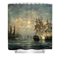 Engagement Between The 'bonhomme Richard' And The ' Serapis' Off Flamborough Head Shower Curtain by Richard Willis