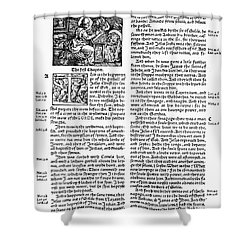 English Bible, 1535 Shower Curtain by Granger