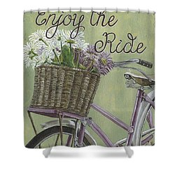 Enjoy The Ride Shower Curtain by Debbie DeWitt