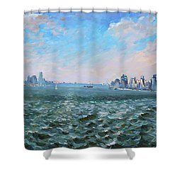 Entering In New York Harbor Shower Curtain by Ylli Haruni