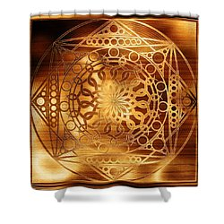 Eternity Mandala Golden Zebrawood Shower Curtain by Hakon Soreide