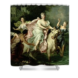 Europa Being Carried Off By Jupiter Metamorphosed Into A Bull Shower Curtain by Pierre Gobert