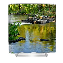Evening Reflections At Lower Basswood Falls Shower Curtain by Larry Ricker
