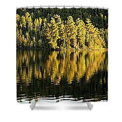 Evening Reflections On Alder Lake Shower Curtain by Larry Ricker