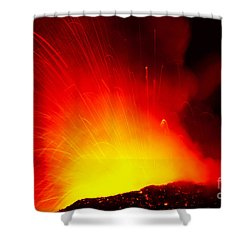Exploding Lava At Night Shower Curtain by Peter French - Printscapes