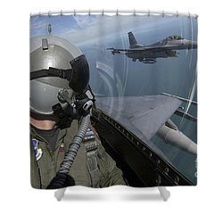 F-16 Fighting Falcons Flying Shower Curtain by Stocktrek Images