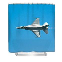 F-16 Full Speed Shower Curtain by Sebastian Musial