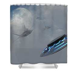 F-22 Stealth Fighter Jets On The Trail Shower Curtain by Mark Stevenson