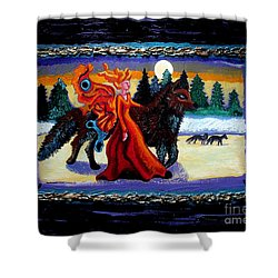 Faerie And Wolf Shower Curtain by Genevieve Esson