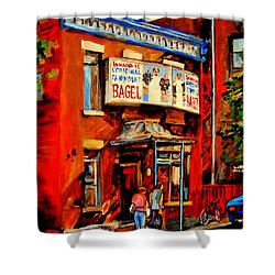 Fairmount Bagel Montreal Shower Curtain by Carole Spandau