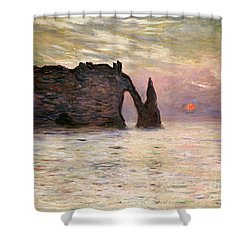 Falaise Detretat Shower Curtain by Claude Monet
