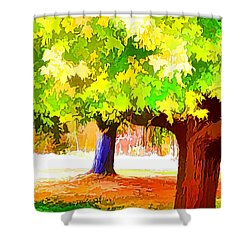 Fall Leaves Trees 1 Shower Curtain by Lanjee Chee