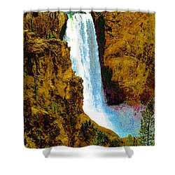 Falls Of The Yellowstone Shower Curtain by David Lee Thompson