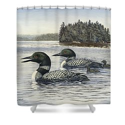 Family Outing Shower Curtain by Richard De Wolfe