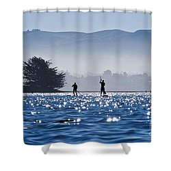 Faraway Paddle Boarders In Morro Bay Shower Curtain by Bill Brennan - Printscapes
