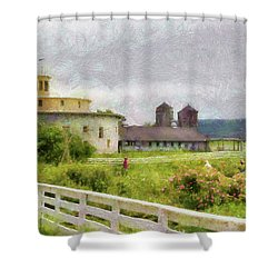 Farm - Barn - Farming Is Hard Work Shower Curtain by Mike Savad