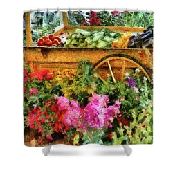 Farm - Food - At The Farmers Market Shower Curtain by Mike Savad