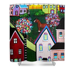 Farm Home Shower Curtain by Pristine Cartera Turkus