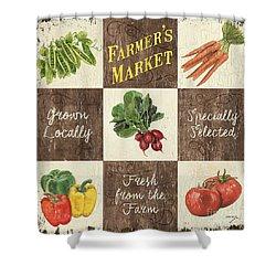 Farmer's Market Patch Shower Curtain by Debbie DeWitt