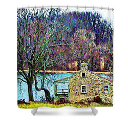 Farmhouse By The Lake Shower Curtain by Bill Cannon