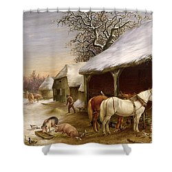 Farmyard In Winter  Shower Curtain by Henry Woollett