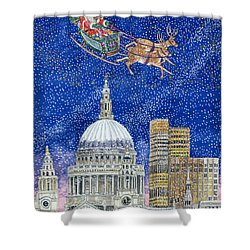 Father Christmas Flying Over London Shower Curtain by Catherine Bradbury
