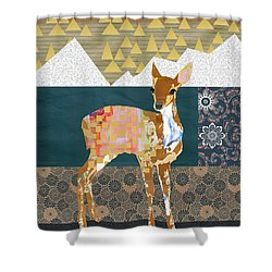 Fawn Collage Shower Curtain by Claudia Schoen