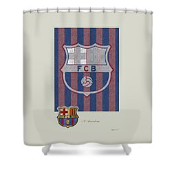 Fc Barcelona Logo And 3d Badge Shower Curtain by Serge Averbukh