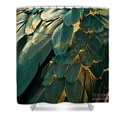 Feather Glitter Teal And Gold Shower Curtain by Mindy Sommers
