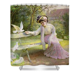 Feeding The Doves  Shower Curtain by Edmond Alphonse Defonte