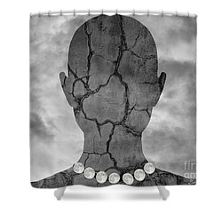 Feminine Figure With Moon Necklace Shower Curtain by Dave Gordon