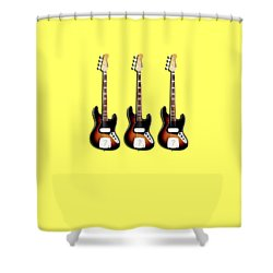 Fender Jazzbass 74 Shower Curtain by Mark Rogan