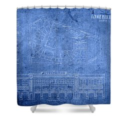 Fenway Park Blueprints Home Of Baseball Team Boston Red Sox On Worn Parchment Shower Curtain by Design Turnpike