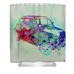 Fiat 500 Watercolor Shower Curtain by Naxart Studio