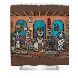 Fiesta Dogs Shower Curtain by Victoria De Almeida