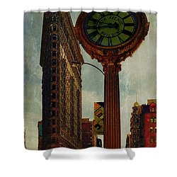 Fifth Avenue Clock And The Flatiron Building Shower Curtain by Chris Lord
