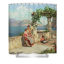 Figures On A Terrace In Capri  Shower Curtain by Robert Alott