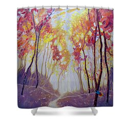 Finding Paradise An Autum Fall Woodland Landscape With Bird Of Paradise Painting By Gill