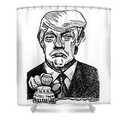 Finger On The Button Shower Curtain by Robert Yaeger