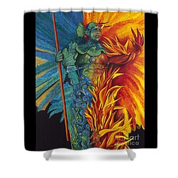Fire And Water Carnival Figure Shower Curtain by Patty Vicknair