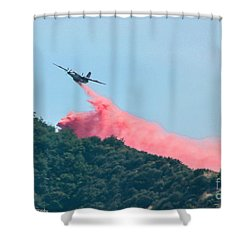 Fire Bomber Drop Shower Curtain by Tommy Anderson
