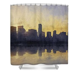 Fire In The Sky Chicago At Sunset Shower Curtain by Scott Norris