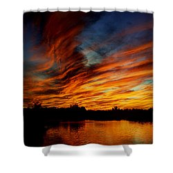 Fire Sky Shower Curtain by Saija  Lehtonen