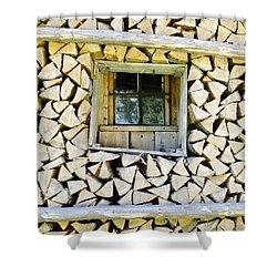 Firewood Shower Curtain by Frank Tschakert