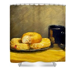 First Call...breakfast Shower Curtain by Jack Skinner