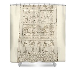 First Side Of Obelisk, Illustration From Monuments Of Nineveh Shower Curtain by Austen Henry Layard
